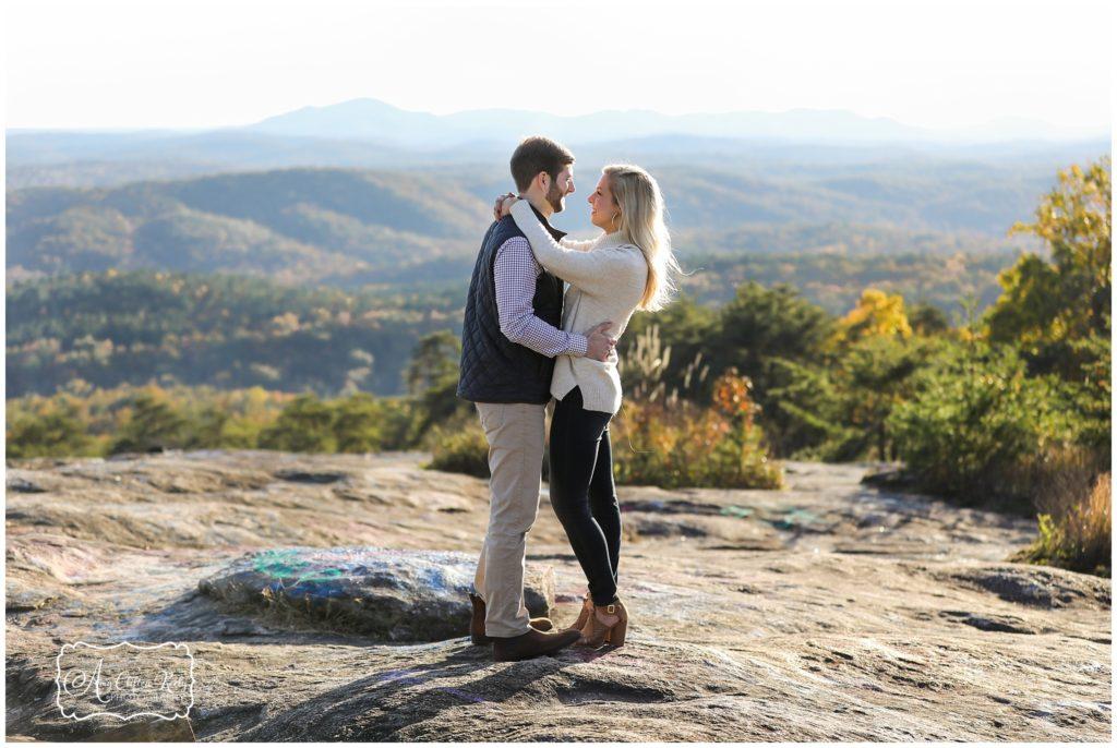Greenville mountain engagement photos at Bald Rock